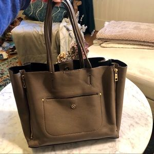 Ann Taylor Pebbled Signature Tote in Taupe